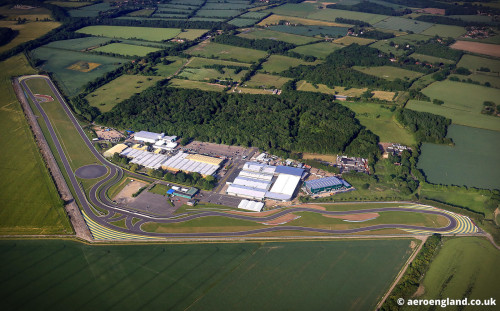aerial photograph of the Lotus Car Factory in Hethel Norfolk England UK, built on the site of the former RAF hethel