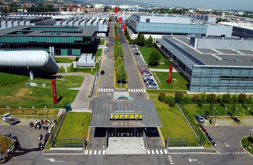 Aerial view of the world famous Ferrari HQ in Maranello. See SWNS story SWFERRARI: These fascinating photographs give a rare insight into the daily goings on at Ferrari, the world's most famous car company. The Italian firm was launched by the eponymous Enzo Ferrari in 1940 with his first car unveiled in 1947. Now, 66 years after the a 125S made its debut, Ferrari continues to build the most desirable sports cars and boasts an annual turnover in excess of £2 billion. The firm's headquarters, in Maranello, northern Italy, is central to its phenomenal success which has seen profits and sales go through the roof in recent years.