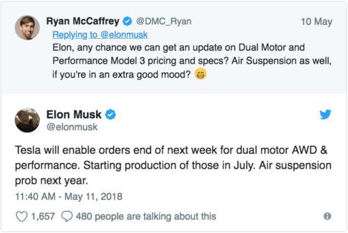 Tweet doble motor del Model 3