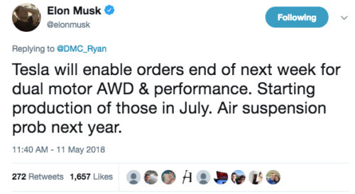 Tweet Elon Musk doble motor del Model 3