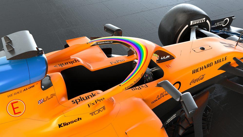 La imagen tiene un atributo ALT vacío; su nombre de archivo es WeRaceAsOne-arcoiris-McLaren.jpg